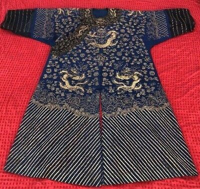 Antique Qing Chinese Imperial Embroidered Summer Robe 5 Claw Dragon Gauze Silk