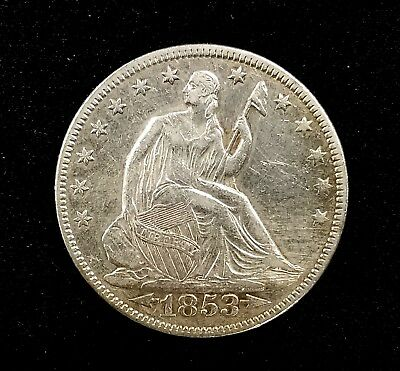 1853 Seated Liberty Half Dollar, Arrows at Date, rays on reverse variety!
