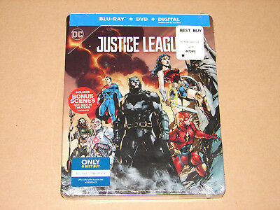 Justice League (Blu-ray/DVD, 2018, SteelBook Only  Best Buy)  ***NEW SEALED***