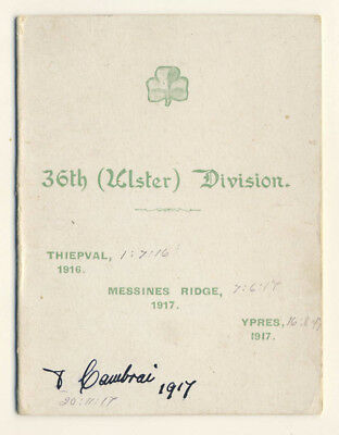 Great War Christmas Card: 36th Ulster Division, 1917