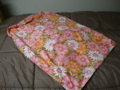 Vtg Canon Bed Sheet Full Size Fitted Daisy Floral Orange Pink White Bright!