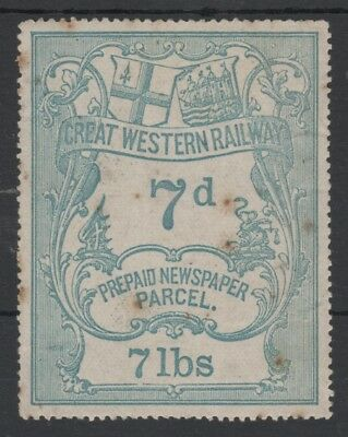 GREAT WESTERN RAILWAY 1870 7lbs BLUE PREPAID NEWSPAPER PARCEL STAMP UNUSED