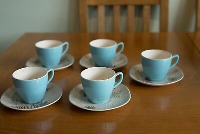 J & G Meakin Sol 391413 ''Rock Fern'' 10 piece Tea Cups and Saucers 50s/60s
