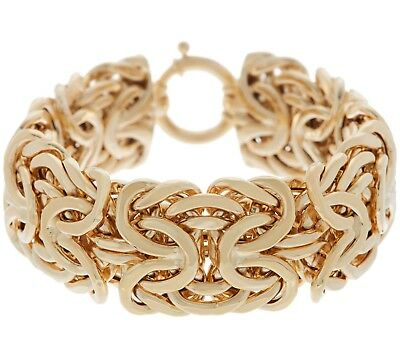 "1"" Wide Bold Byzantine Bracelet with Spring Ring Clasp Real 14K Yellow Gold  QVC"