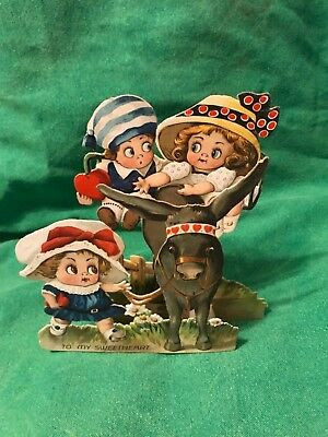 """1909-1920 Antique """"Googly Children Standee Card""""-Germany-Rare!"""