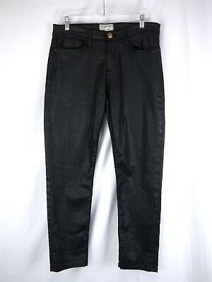 Current/Elliot Womens Black Coated Denim 'The Fling' Relaxed Fit Jeans SZ 27