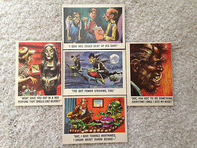 Original Set of Five You'll Die |Laughing 1959 Monster Cards