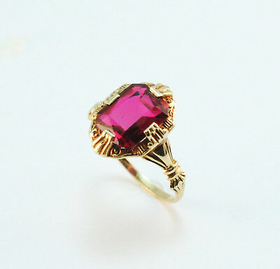 Art Deco 14k Yellow Gold Ruby Ring Size 7