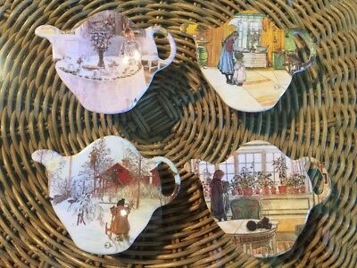 set of 4 Tea Bag Holder Ashdene Melamine Teapot Scandinavian