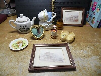vintage little job lot x 9 items pictures smaoll plate clogs figurine barrel etc