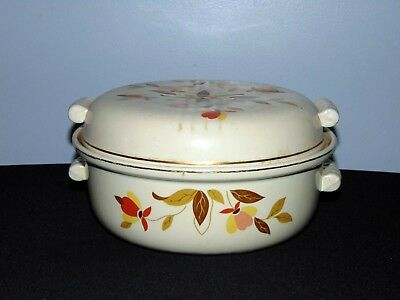 "Vintage Hall Pottery Jewel Tea Autumn Leaf Pattern 9"" Covered Casserole Dish"