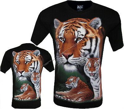 New Bengal Tiger Biker Black T-Shirt,Front & Back Print M - XXL