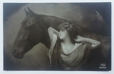 postcard real photo Woman with Horse glamour lady cpa romantic