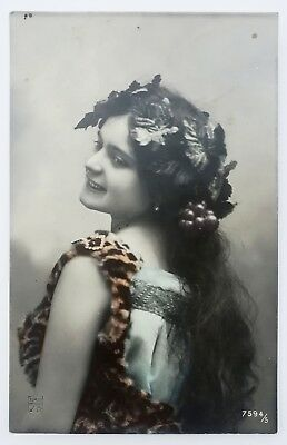 postcard Glamour Woman real photo femme with leaves & grapes risque erotique cpa