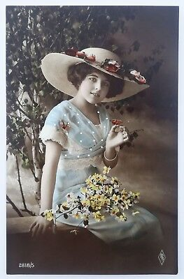 postcard Glamour Woman real photo femme with flower & butterfly risque erotique
