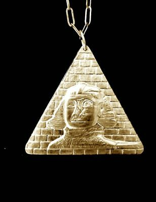 Vintage Egyptian Sphinx & Pyramid Necklace Awesome!