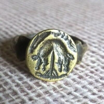 Ancient Gallo Roman Engraved Bronze / Brass Boar Wax Seal Stamp Ring