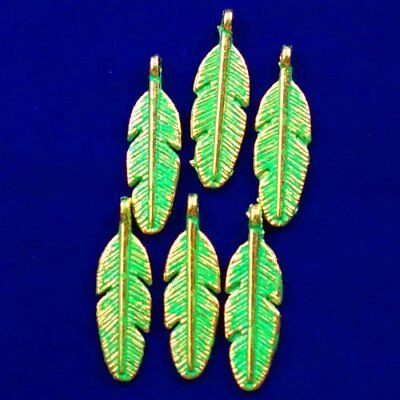 6Pcs Carved Brass Bronze Feather Pendant Bead 29x9x2mm L60911