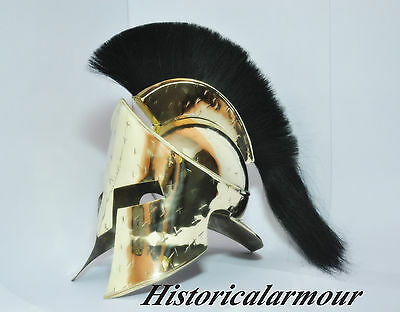 Medieval Brass Roman King Leonidas Spartan Helmet 300 Movie Helmet W/black Plume