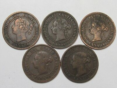 5 Diff. Date Victoria Canadian Large Cents: 1859, 1876-H, 1881-H, 1886 & 1896.