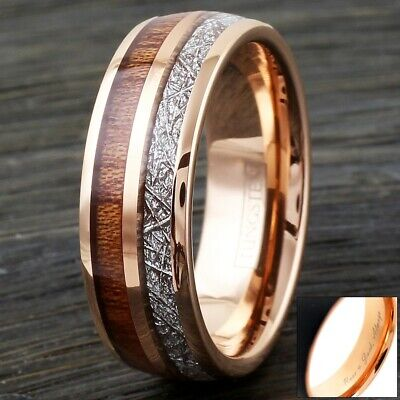 8mm Rose Gold Tungsten Wood & Meteorite Wedding Band Ring-Engraving Avail.