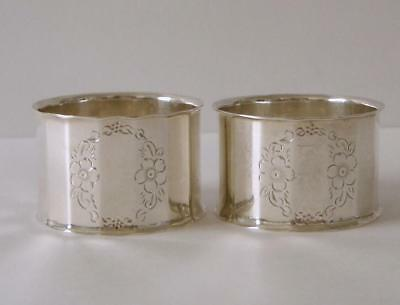 A Pair Of Antique Sterling Silver Napkin Rings Birmingham 1907 John Rose