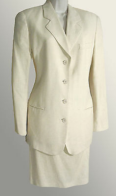 Vintage CALVIN KLEIN Two Piece Skirt Suit High-end Pencil Ivory Size 4