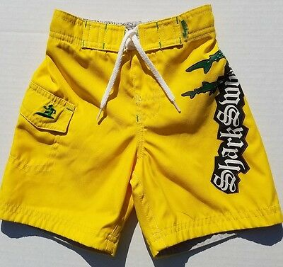Old Navy-Baby Boys-Size 12-18 Months-Sharks-Yellow Bathing Suit-Swimsuit-Shorts