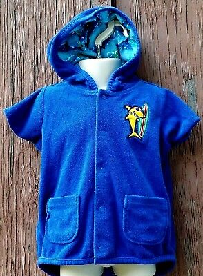 Boys-Size 12 Months-Blue-Shark-Hooded-Pool-Swimsuit-Bathing Suit-Beach-Cover-Up