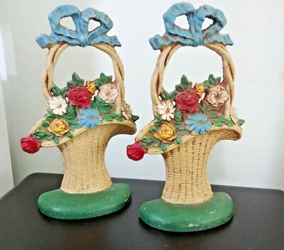 Vintage Hubley Cast Iron #69 French Basket Of Flowers Door Stop - Original Paint