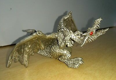 1987 Vintage Hudson 4205 Fine Pewter Dragon with Red Eyes