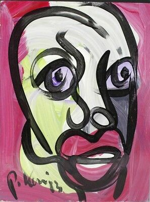 Signed PETER KEIL German Neo Expressionist ROXANNE Portrait Painting LISTED NR