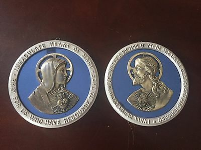 Vintage Religious Images + Silver & Blue Glass + Jesus And Mary