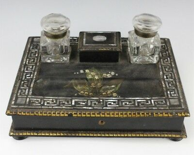 Antique Victorian Black Lacquer Mother Of Pearl Inlay Desk Double Inkwell NR SMS
