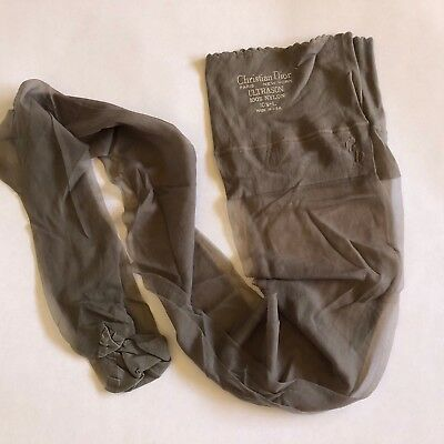 Vintage Christian Dior Ultrasonic Nylon 10.5 Large Panty Hose Gray Sheer