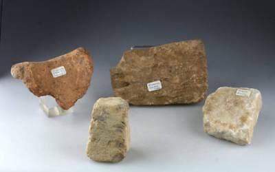 *SC* 4 GREEK POTTERY /  MARBLE FRAGMENTS & WEIGHT, RHODES & CRETE, 2nd-3rd c. BC