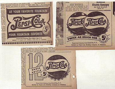 Three 1946 newspaper ads for Pepsi -Fountain Favorite, 12 oz. bottle, 2x as much