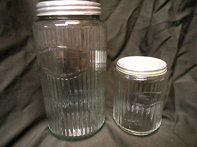 """Antique Vintage Hoosier Ribbed Glass Coffee 8"""" Jar And Tea 5"""" Canister"""