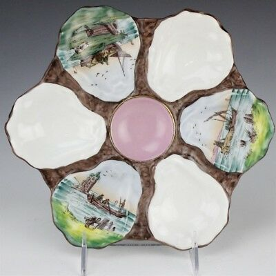 VTG European Porcelain 6 Well Scenic Fishing Boats Pink Center Oyster Plate DCJ