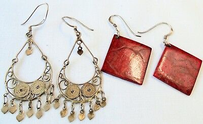 Two pairs large vintage sterling silver earrings (sponge coral, filigree)