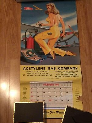 Lg ORIGINAL 1975 PINUP Glamour Girl ADVERTISING CALENDAR WELDING SUPPLY CO. !
