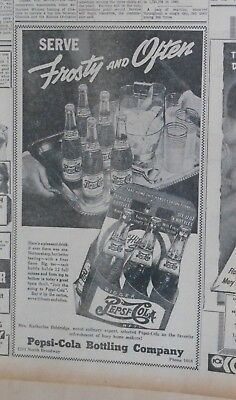 1942 newspaper ad for Pepsi - Frosty & Often, bottle on tray, 6 pack carton