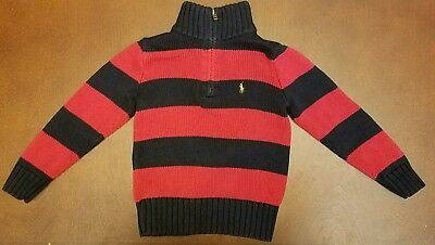 Polo By Ralph Lauren Toddler Boy Navy Blue and Red Sweater 4T EUC