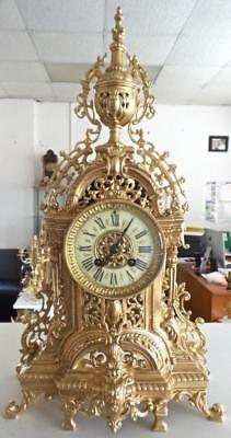 Antique French 19th c Gilt Bronze 8 Day Bell Striking Mantle Clock by A.D.Mougin