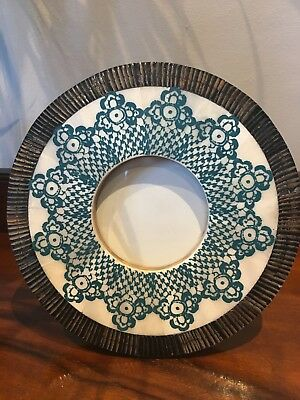 """ZARA Home Round Photo Frame Carved wood Mother of Pearl Inlay Blue Ethnic 6.5"""""""