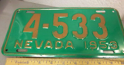 NEVADA metal License plate 1953 unique (UGLY) color combo gold on light green *