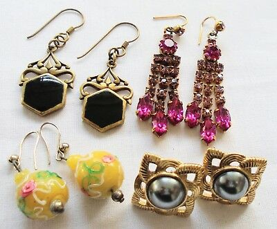 Four pairs good quality vintage earrings (gold metal, paste, glass, enamel etc)