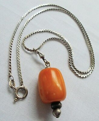 Good vintage real butterscotch amber pendant + sterling silver chain
