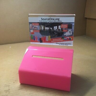 201P306 Source One Heavy Duty Donation/Ballot Box with Lock and Sign Holder Pink