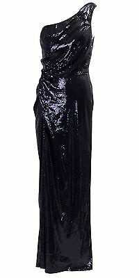 Bariano Black Sequin Floor Length One Shoulder Gown Formal Dress Size 12/10